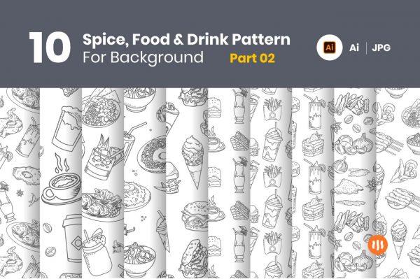 10-Spice,-Food-&-Drink-Pattern-Background-Part-02-Git-Aset