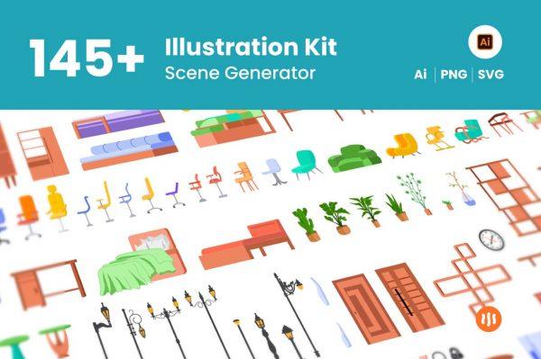145+-Illustration-Kit-Scene-Generator-Git-Aset