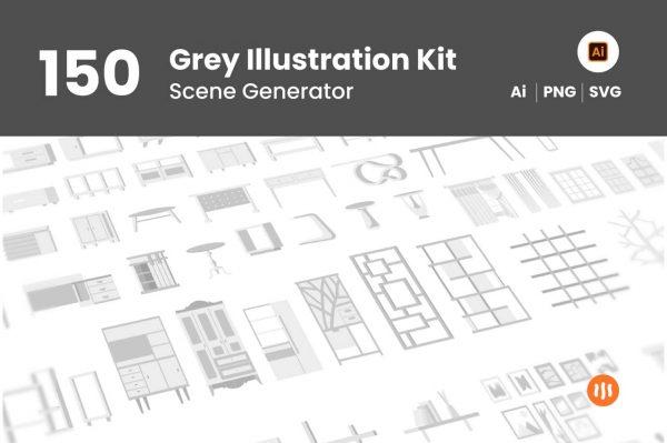 150-Grey-Illustration-Kit-Git-Aset