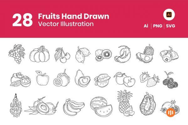 28-Fruits-Hand-Drawn-Git-Aset