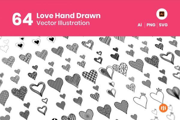 64-Love-Hand-Drawn-Git-Aset