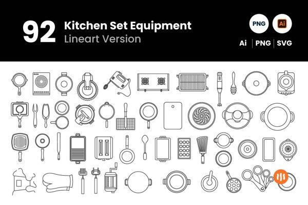 git_aset_92-Kitchen-Set-Equipment-Lineart-Version