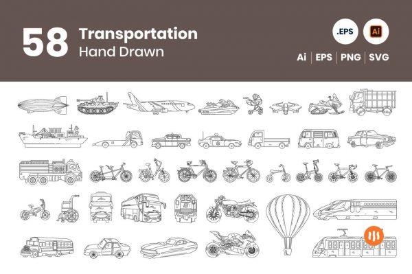 gitaset_58-transportation-hand-drawn